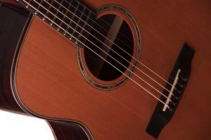 Bowman Auden acoustic guitar cedar strings detail image