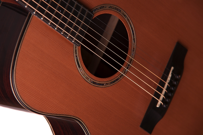 Bowman Auden acoustic guitar cedar strings detail image