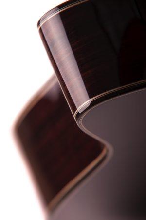 Bowman Cedar Cutaway Auden acoustic guitar rear curves detail image