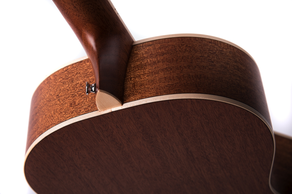 Chester Neo - acoustic guitar by Auden Guitars. Rear close up image.