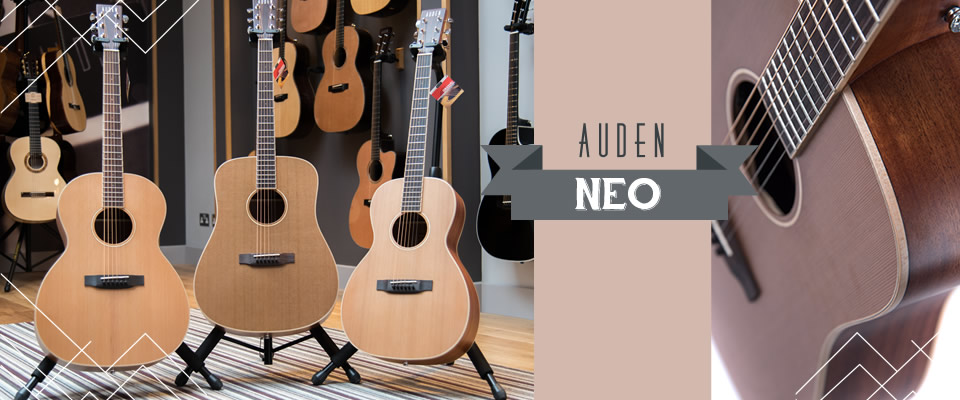 Neo range of acoustic guitars from Auden Guitars - header page graphic